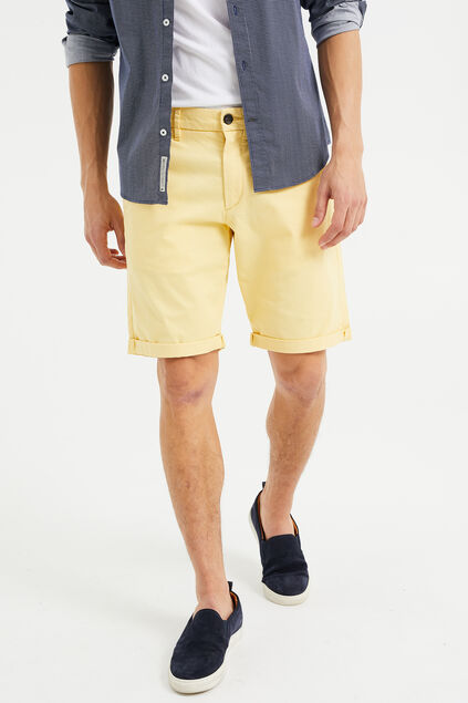 Heren slim fit chinoshort met stretch Lichtgeel