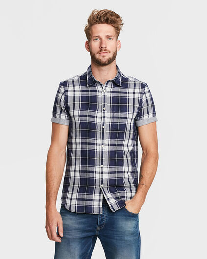 HEREN RELAXED FIT CHECKED OVERHEMD Blauw
