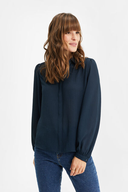 Dames crinkle blouse Donkerblauw