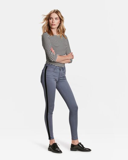 DAMES MID RISE SUPER SKINNY HIGH STRETCH VELVET STRIPE JEANS Grijs