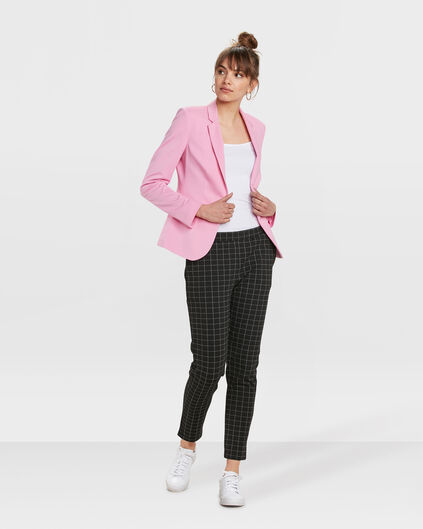 DAMES REGULAR FIT CHECK PANTALON Zwart