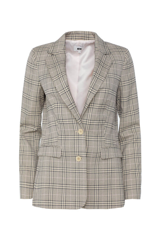Dames regular fit blazer met ruitprint Multikleur