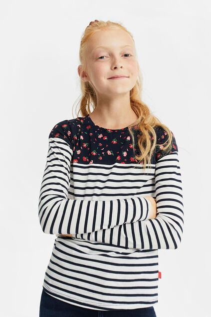 Meisjes T-shirt met colourblock Multikleur