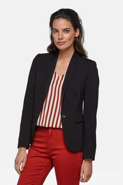 Dames regular fit jersey blazer Zwart