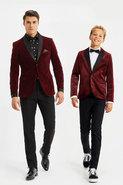 Jongens velvet slim fit blazer Bordeauxrood
