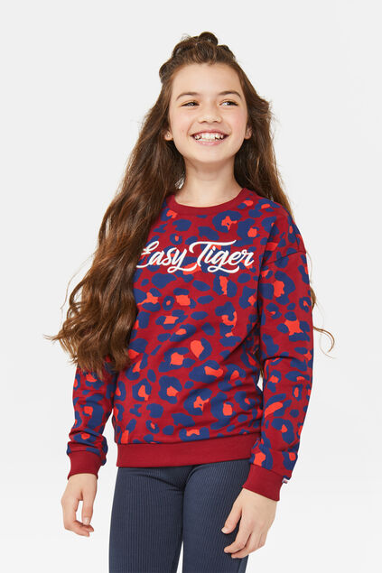 Meisjes easy tiger sweater Donkerrood