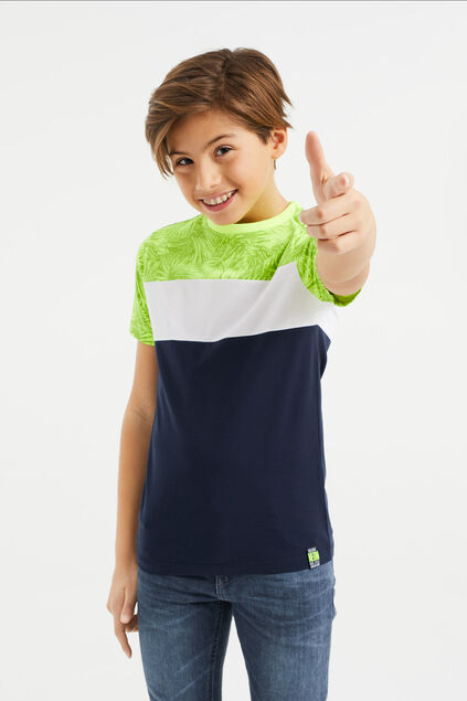 Jongens T-shirt met colourblock Geel