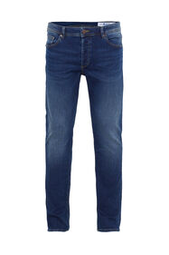 Heren slim fit jeans van jog denim_Heren slim fit jeans van jog denim, Donkerblauw
