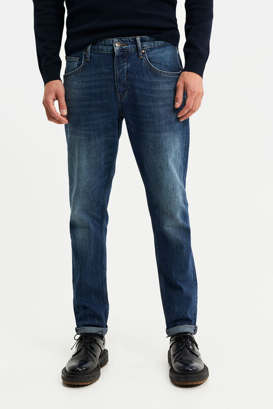Heren tapered fit jeans Donkerblauw