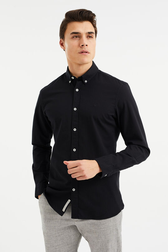 Heren slim fit stretch oxford overhemd Zwart