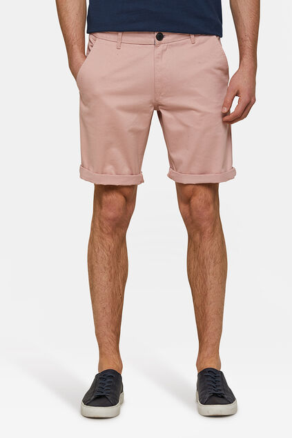 Heren regular fit chino short Lichtroze