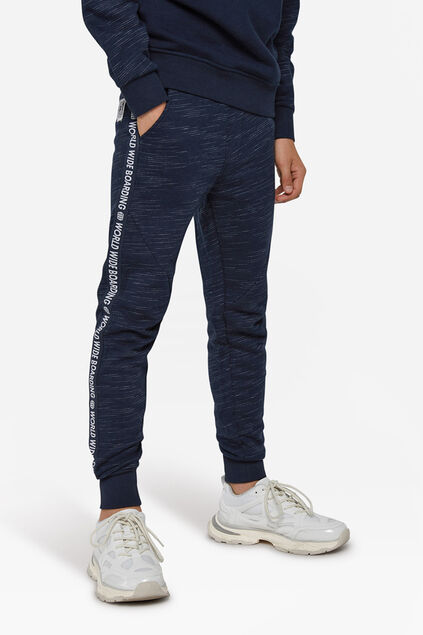 Jongens world print sweatpants Marineblauw