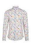Heren slim fit bloemendessin overhemd, Wit
