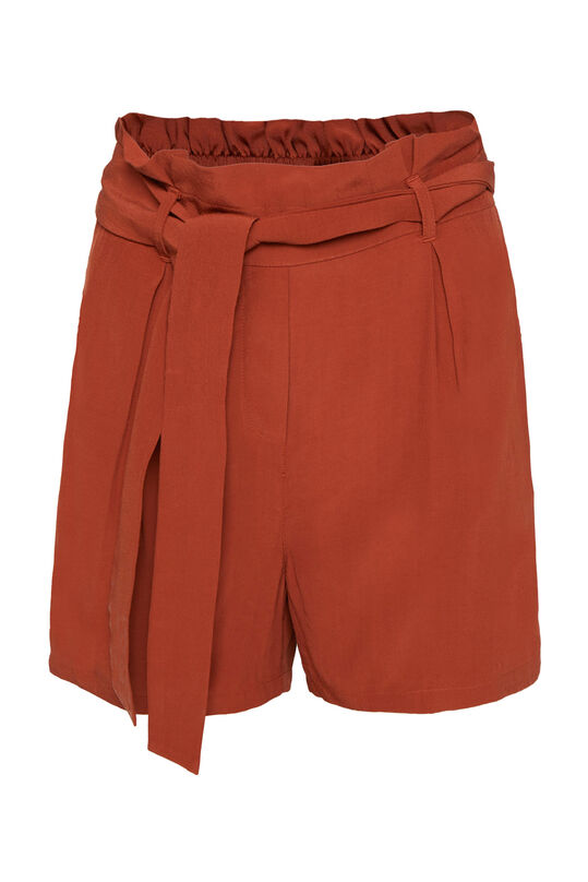 Dames high rise short met ceintuur Bordeauxrood