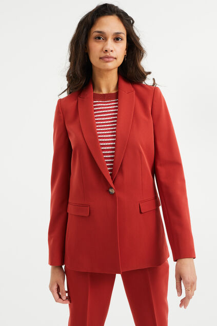 Dames regular fit blazer met stretch Saffraan rood
