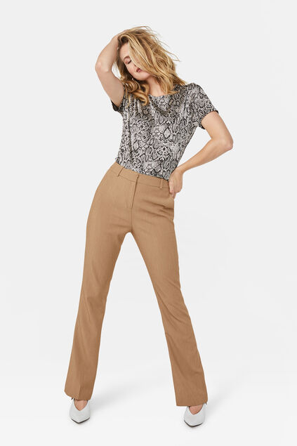 Dames high waist flared broek Lichtbruin