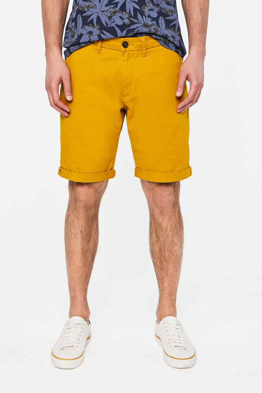 Heren slim fit chinoshort met stretch Mosterdgeel