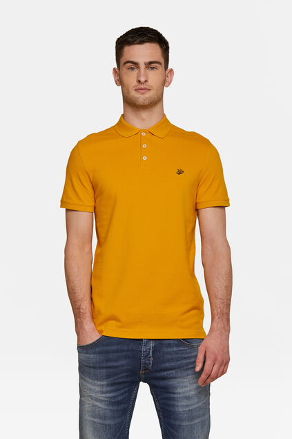 Heren organic cotton pique polo Geel