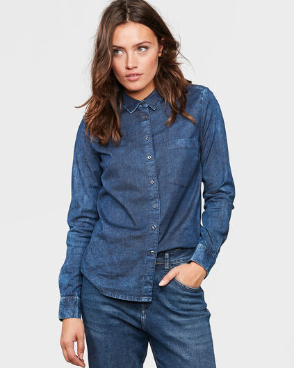 DAMES REGULAR FIT DENIM BLOUSE Donkerblauw
