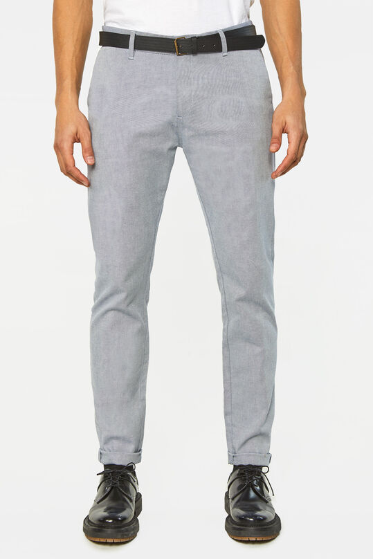 Heren skinny fit chino met ingeweven dessin Donkerblauw