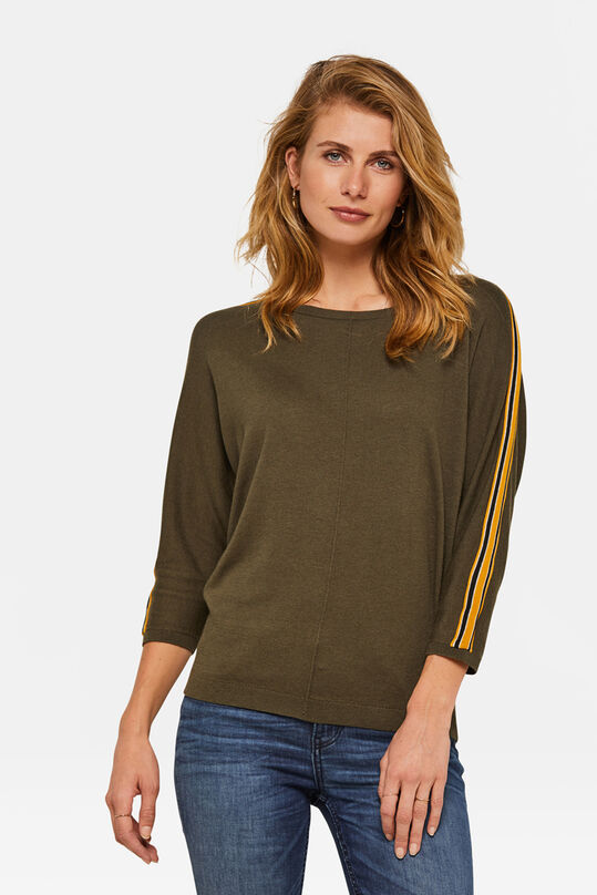 Dames sporty stripe top Khaki