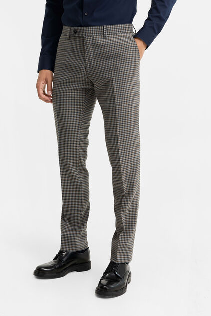 Heren slim fit geruite pantalon, Carey Grijs