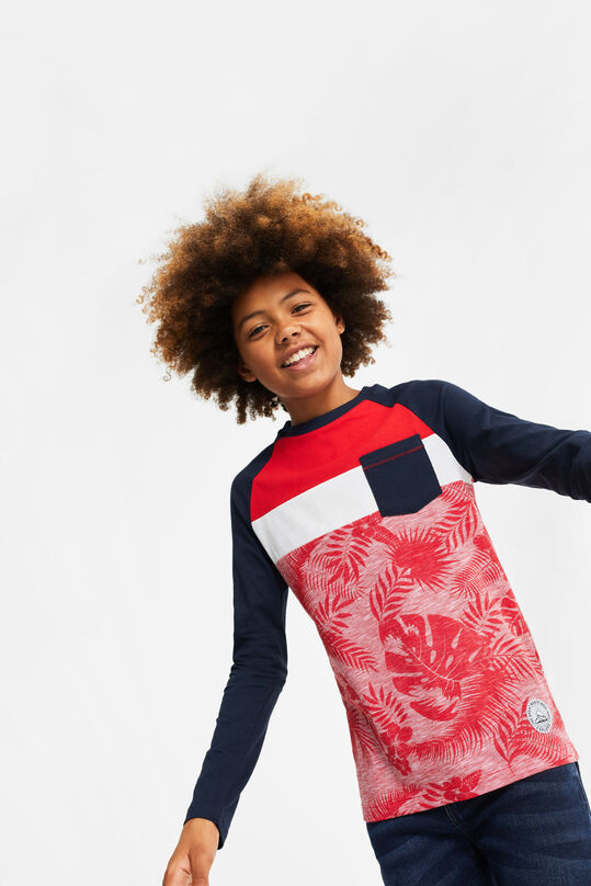 Jongens T-shirt met colourblock All-over print