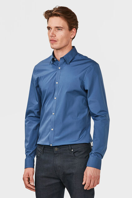 Heren slim fit overhemd met stretch Blauw