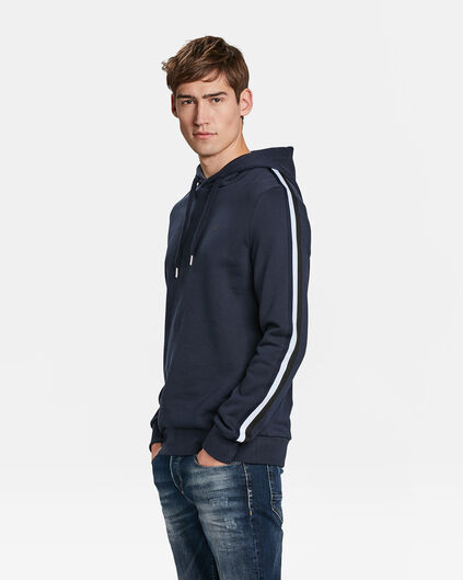 HEREN SIDE STRIPE CAPUCHONSWEATER Marineblauw