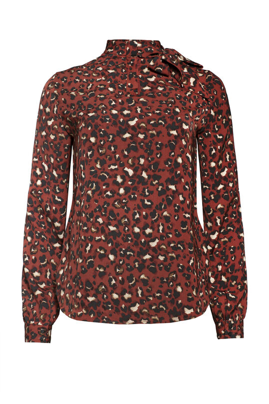 Dames blouse met strikdetail All-over print