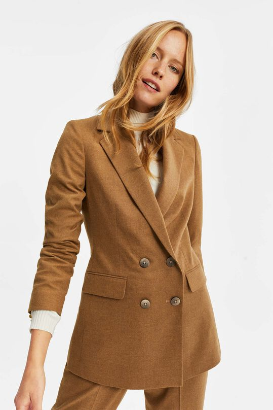 Dames loose fit double breasted blazer Caramel