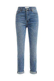 Dames mom fit jeans met stretch_Dames mom fit jeans met stretch, Lichtblauw