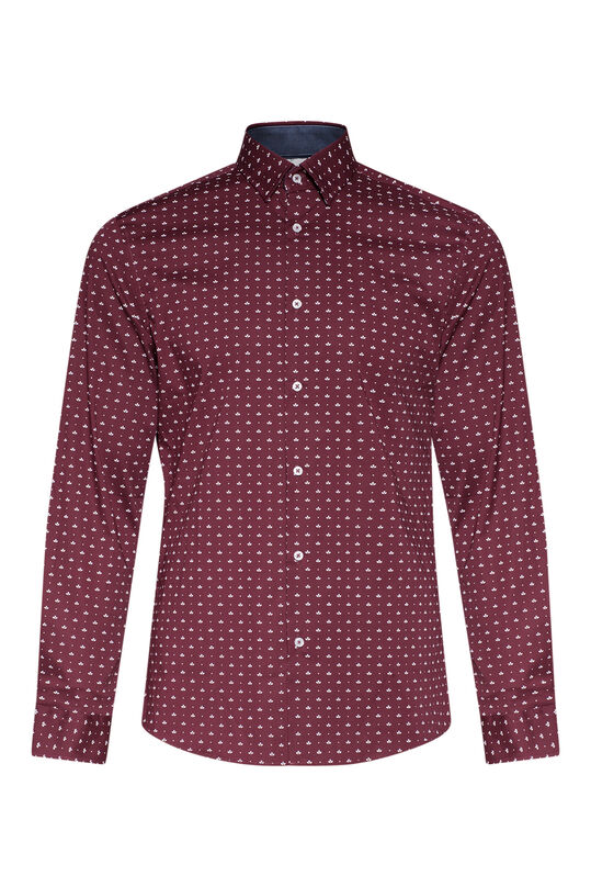 Heren slim fit dessin overhemd Bordeauxrood