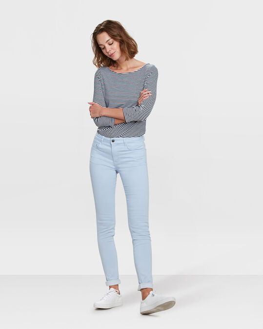 Dames mid rise skinny jeans met stretch Lichtblauw