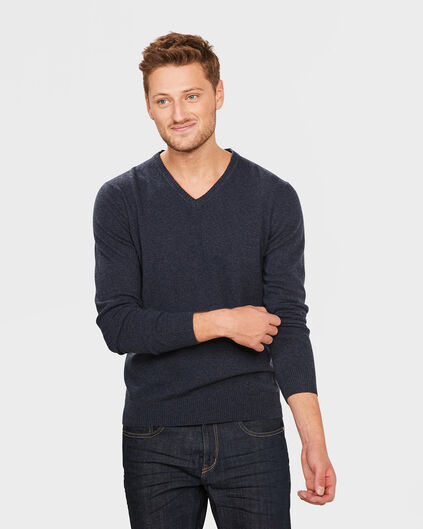 HEREN V-NECK LAMBSWOOL BLEND TRUI Blauw