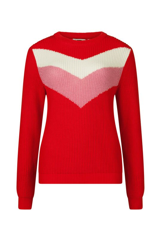 Dames colorblock trui Rood