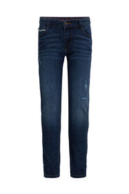 Jongens slim fit jeans met destroyed details_Jongens slim fit jeans met destroyed details, Donkerblauw