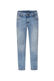 Jongens slim fit rip en repair jog denim jeans_Jongens slim fit rip en repair jog denim jeans, Blauw