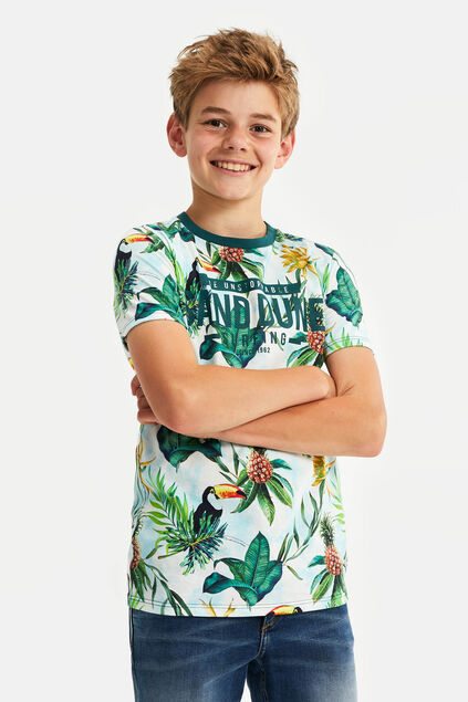 Jongens T-shirt met jungledessin All-over print