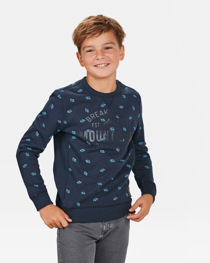 JONGENS MOUNTAIN PRINT SWEATER Marineblauw