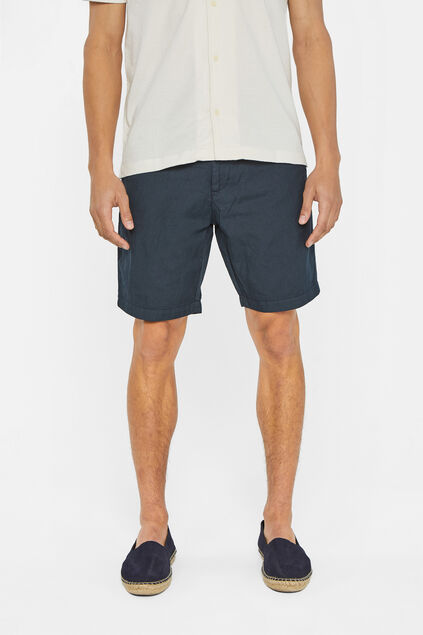 Heren regular fit chinoshort van linnen Marineblauw