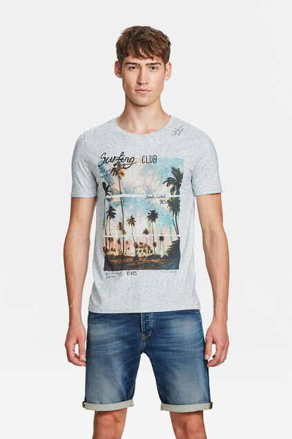 HEREN SURFING CLUB PRINT T-SHIRT Lichtblauw