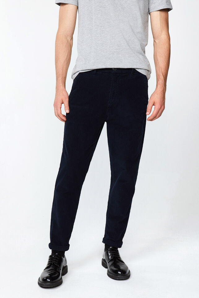 Heren loose tapered corduroy chino Donkerblauw