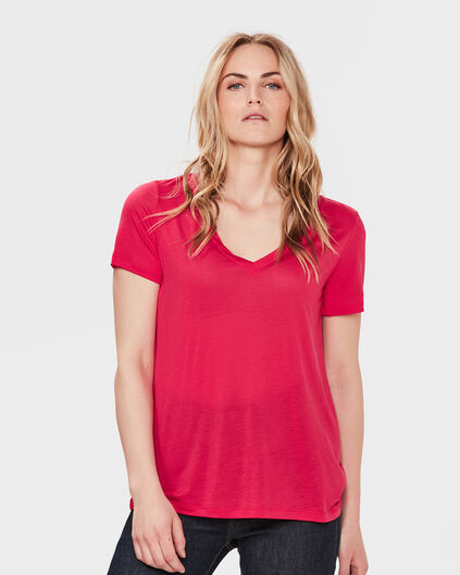 DAMES LYOCELL V-NECK T-SHIRT Roze