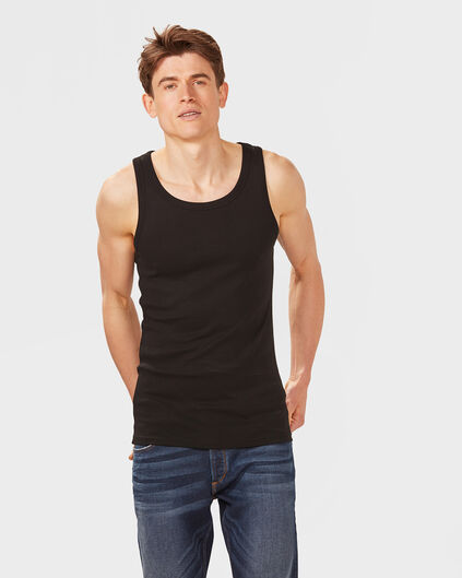 HEREN ORGANIC COTTON SINGLET Zwart