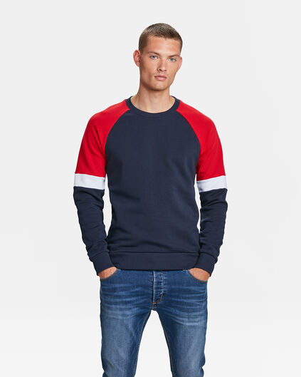 HEREN COLOUR BLOCK SWEATER Marineblauw