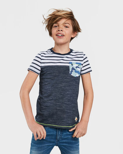JONGENS ONE POCKET STRIPED T-SHIRT Donkerblauw