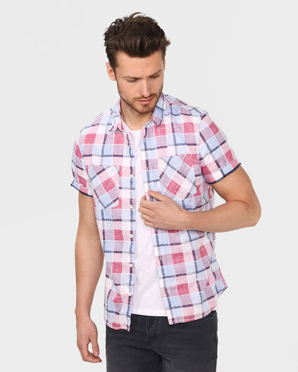 HEREN SLIM FIT CHECKED OVERHEMD Lichtrood
