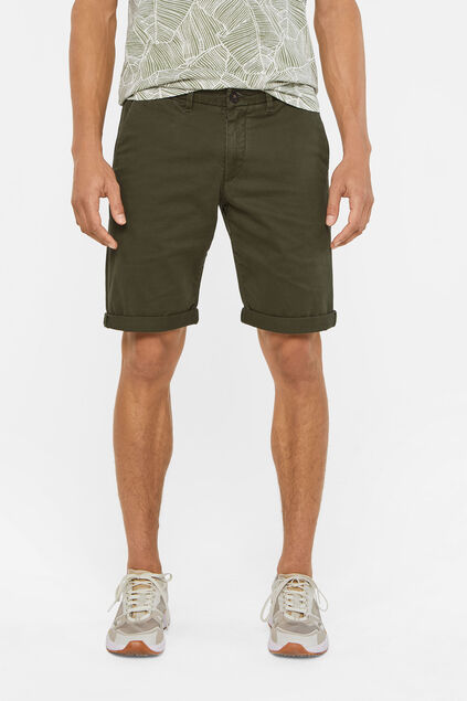 Heren slim fit chinoshort met stretch Legergroen