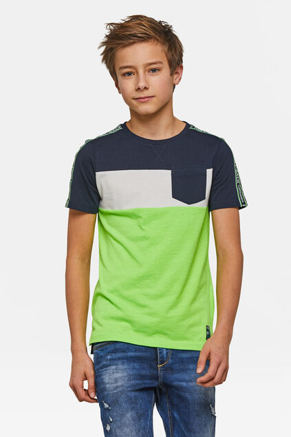 Jongens colourblock T-shirt Lichtgroen